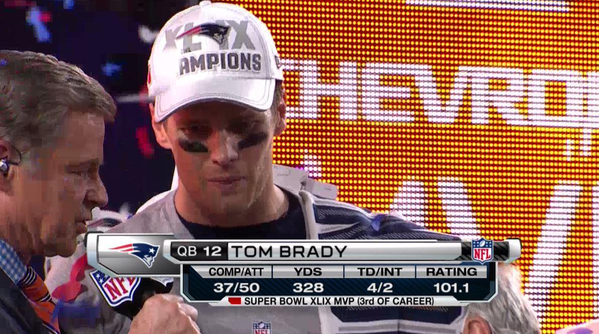 Tom Brady is the MVP of #SB49. 4 touchdowns, 4 #SuperBowl rings http://t.co/iZUD0ld9uJ