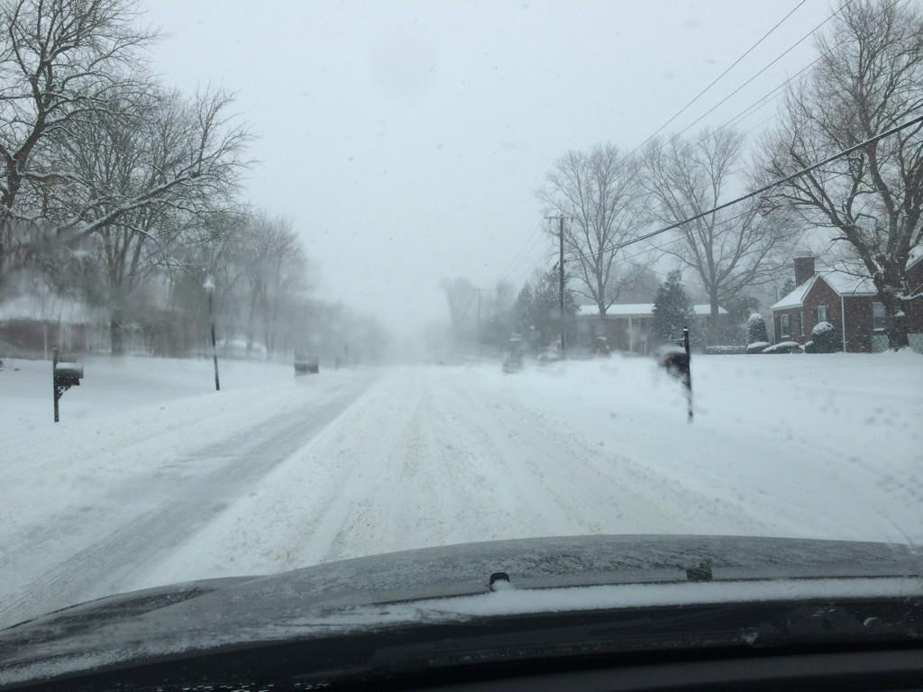 Snow covered roads are a common winter road condition during and after storms.