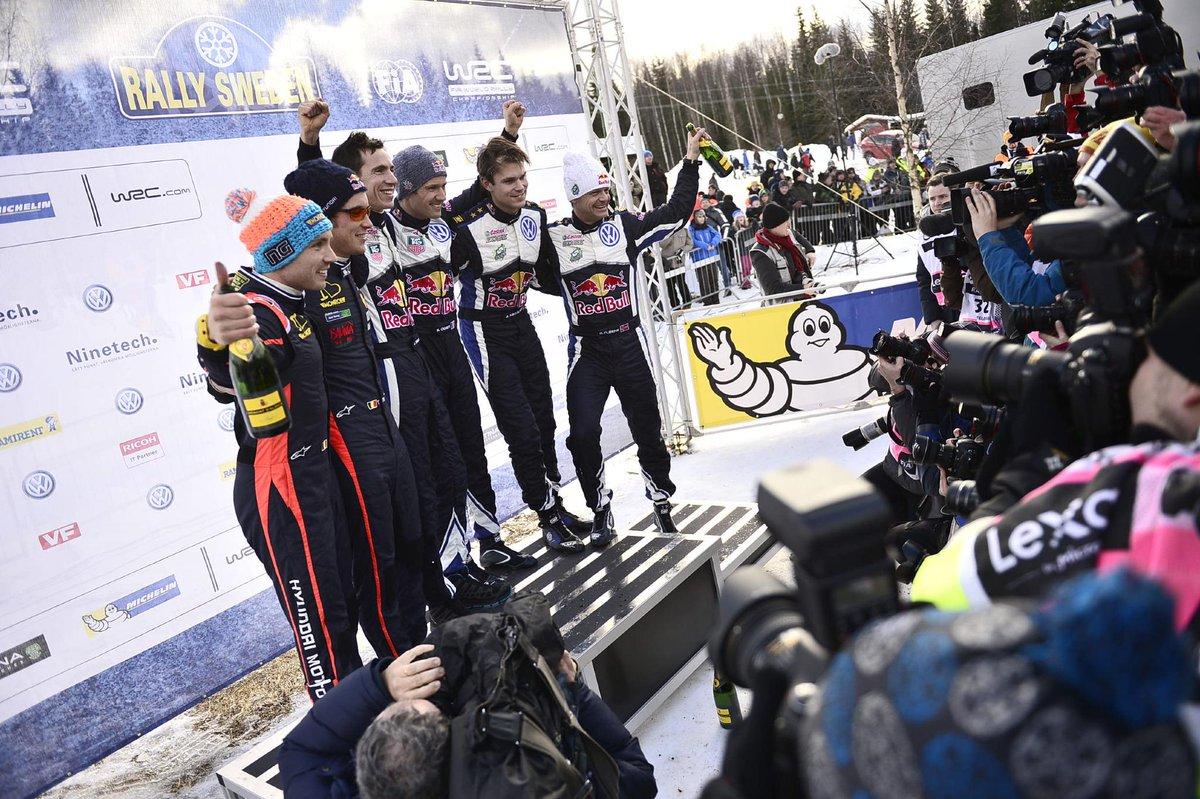 The Rally Sweden 2015 podium. 1 @SebOgier  2 @thierryneuville  3 @AMikkelsenRally  #RallySweden #WRC http://t.co/00Je2dscCw