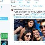 RT @FocusNewsIndia: #DefendTheCup   Tennis star @rohanbopanna congratulates team India #INDvsPAK #SabseBadaFan #CWC15