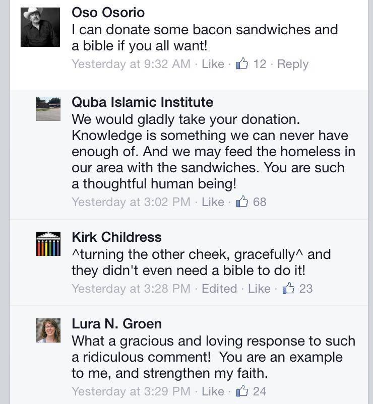 This is how an Islamic Center in Houston that was just burned responded to a bigot on FB. Priceless. #TakeOnHate http://t.co/ZonGjnt3cJ