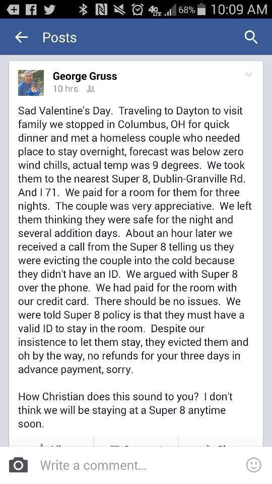 My parents rent 3-nights to homeless couple at @Super8Hotels in Columbus but story has awful sad ending. http://t.co/bsQwKjANkd