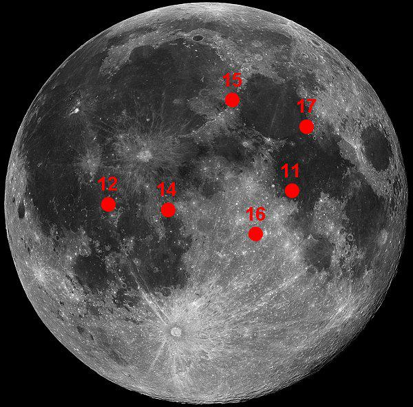 Here are the Apollo landing sites on the face of the Moon: http://t.co/yeYp0FMIrZ
