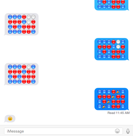 Uh-oh, @wizardofderp just taught me how to play Connect Four on iMessage with emoji. http://t.co/nhrLmY8RtN