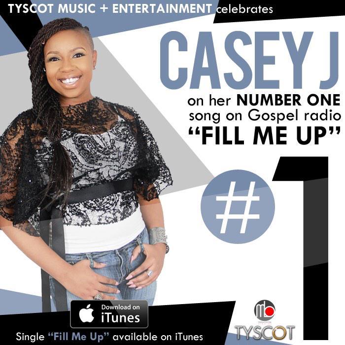 "Congratulations to @caseyjmusic & @boonem on your #1 song on gospel radio""Fill Me Up"" #CaseyJ #1Song #April21 http://t.co/eCYyGpGDta"