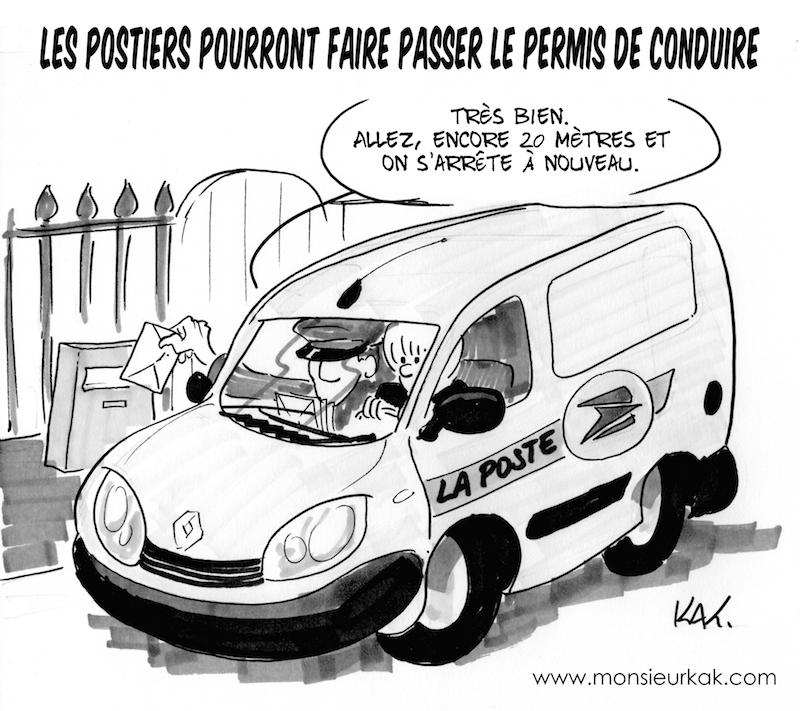 humour permis de conduire les postiers appel s la rescousse dessin via monsieurkak. Black Bedroom Furniture Sets. Home Design Ideas