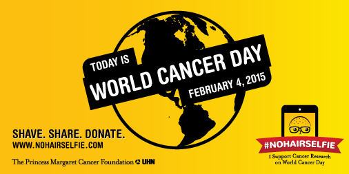 Today is #WorldCancerDay. Join the #NoHairSelfie with us. Shave. Share. Donate. http://t.co/n7S5XIJ5no http://t.co/64zToT0boA