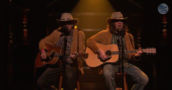 Watch the real Neil Young team with Jimmy Fallon's Neil Young for Old Man on The Tonight Show http://t.co/yFxskqkvxJ http://t.co/S3YLNjkedP