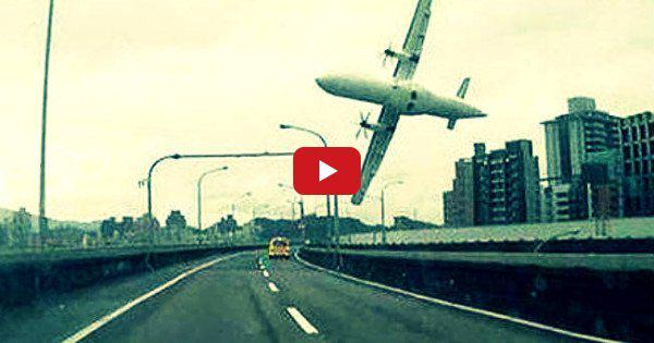 Harrowing footage of Taiwan plane crashing through a bridge
