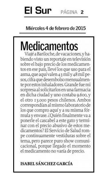 En Chile los medicamentos valen 43 mil y 48 mil pesos, los mismos en Argentina 9.600 y 13.000 #SigueElAbuso http://t.co/qHZFffQUXn @gransopi