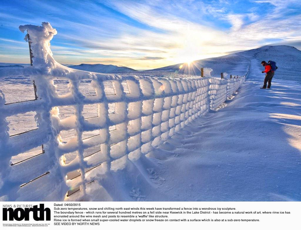 Magical! RT @paulkingstonnnp: Another picture of a fence encrusted with rime ice in the Lake District #uksnow http://t.co/g6qzW8KVMD