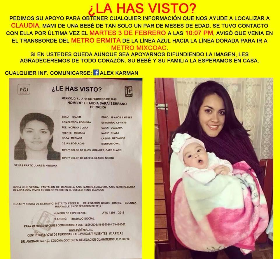 #ServicioALaComunidad Ayúdanos a encontrar a Claudia Sarai Serrano Herrera #URGENTE #Ayuda http://t.co/w6MF4WYRka