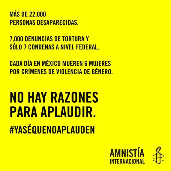 Amnistía Internacional responde con imagen al #YaSeQueNoAplauden de EPN http://t.co/jrP8ehMWD2 http://t.co/1hXzR8t7NB