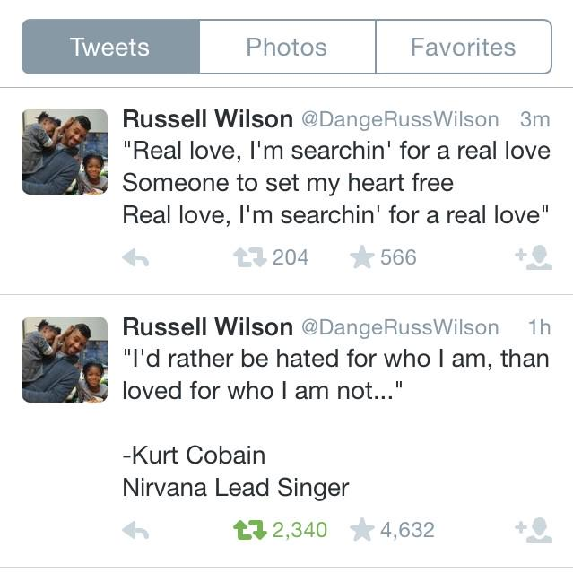 Glad he clarified which Kurt Cobain RT @atotalmonet: Russell Wilson's iPod is on Weird Shuffle tonight http://t.co/U82RDb3ATh