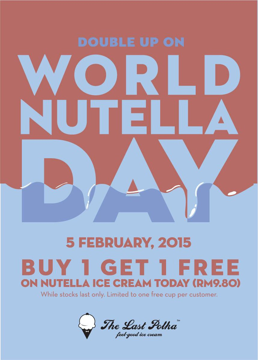 Late to our own party, but hey, it's World Nutella Day! Buy-1-Free-1 Nutella today, so you've got a few hours left! http://t.co/ZHi3gH69ak