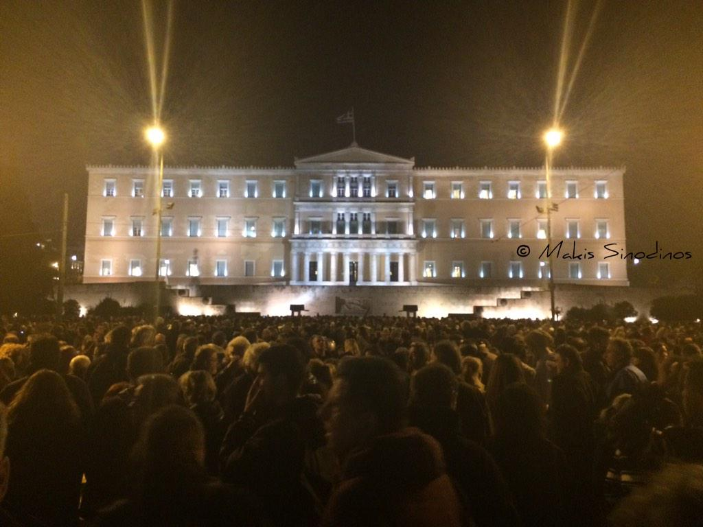 Theodora Oikonomides (@IrateGreek): Parliament plaza & Amalias avenue packed with ppl, intl media present V @MakisSinodinos: #grexit #Athens #ECB #Greece http://t.co/6UbO6aN8zd