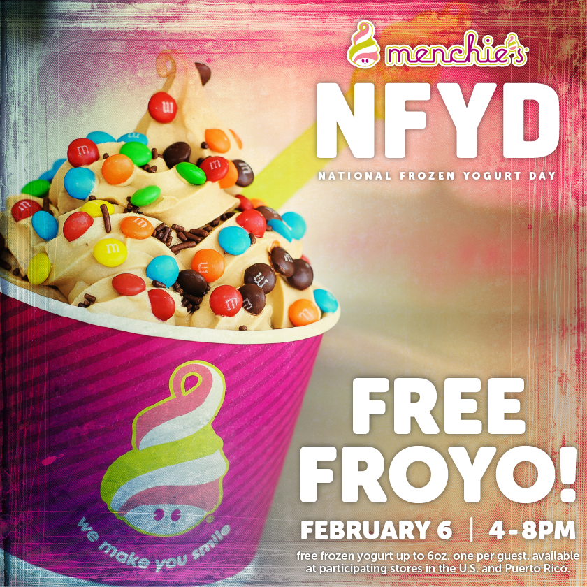 Stop by Menchie's tomorrow from 4-8 PM for free 6 oz. of froyo for National Frozen Yogurt Day! #NFYD15 http://t.co/GdYPwAEjuW