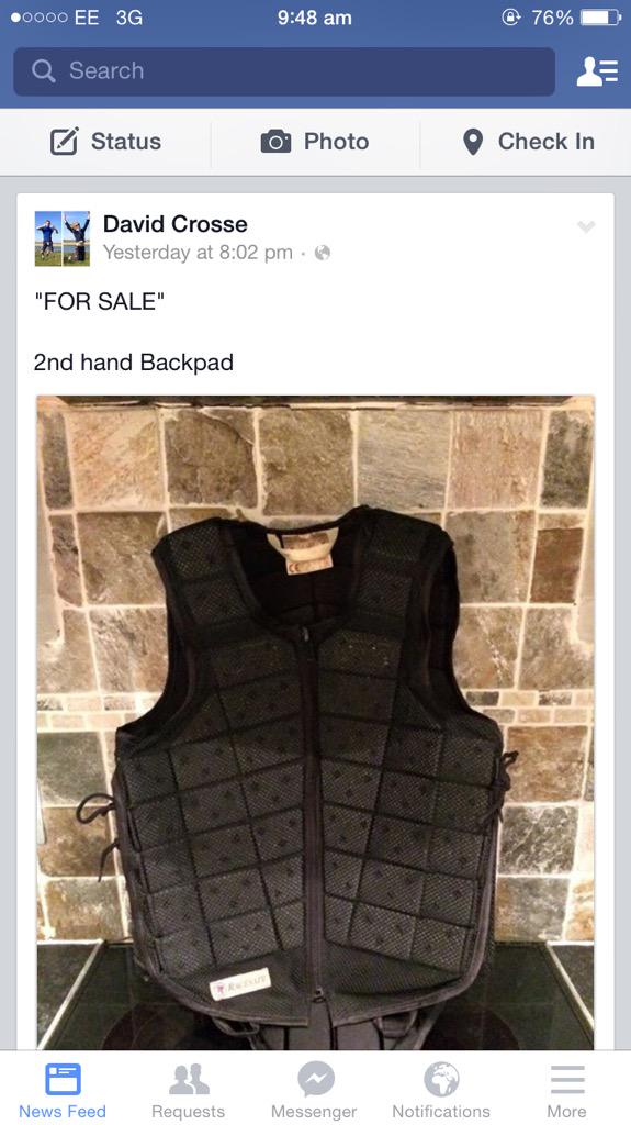 For sale....@DavidCrosse used back pad. Special features include the stench of fear and