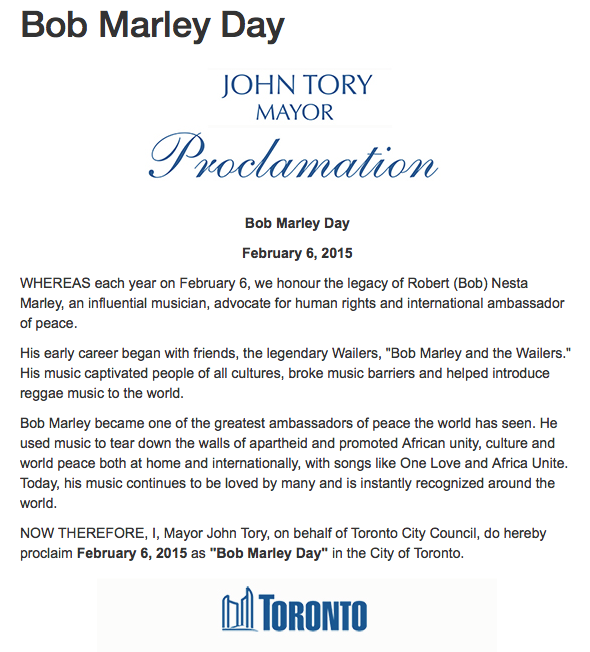February 6th declared as Bob Marley Day in Toronto! #Marley70 #HappyBirthday http://t.co/23Vs92QwyL http://t.co/iysE4RDdO7