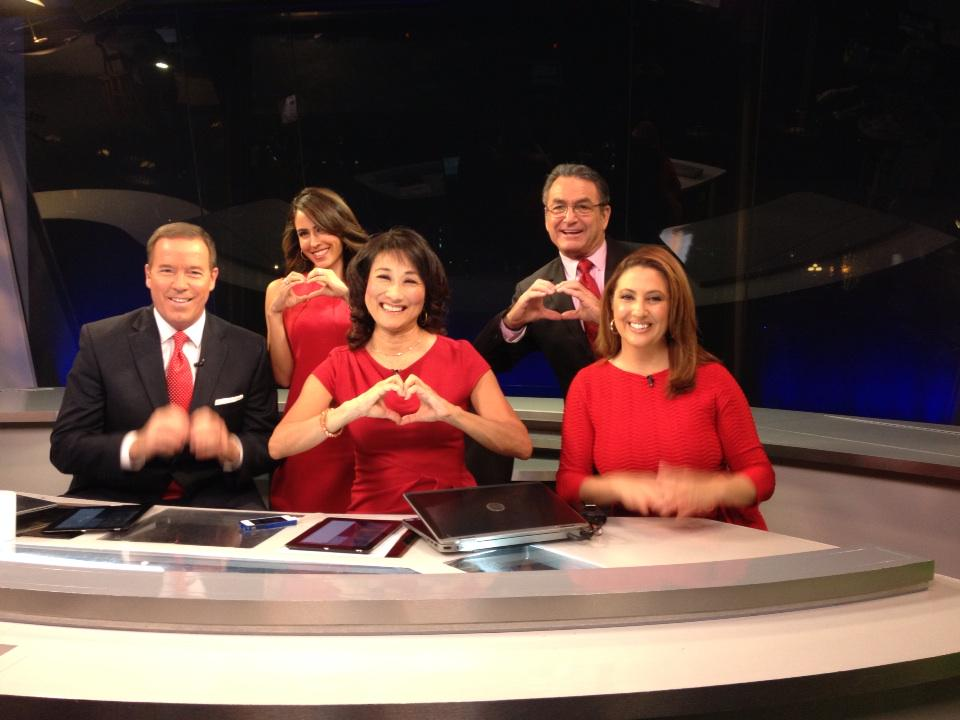 We are @GoRedForWomen for the @American_Heart . Stamp out heart disease. Wear red. #NBC7 #morningteam  <3 http://t.co/uGaFdjqbD5
