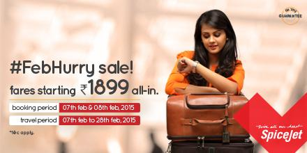 SpiceJet #FebHurry Sale is here! 2 days to book tickets starting Rs.1899 all-in. Book now on http://t.co/PykmFjYcix http://t.co/jD7QFHGYpQ