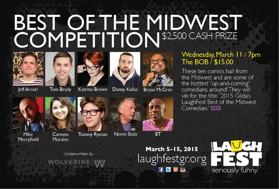 Wed. 3/11 10 comics vie for @LaughFest's 'Best of the Midwest' Title & a $2,500 cash prize! http://t.co/QdVCzDxEq2 http://t.co/nwVvfgeznP