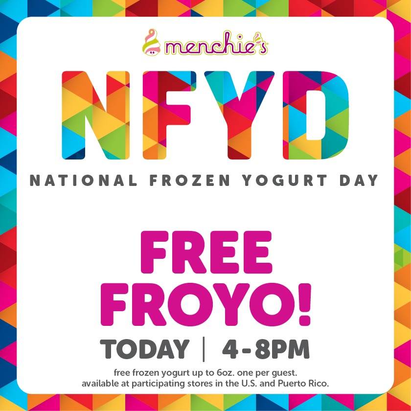 It's here! Celebrate National Frozen Yogurt Day today with FREE 6 oz. from 4-8 PM.  #NFYD15 http://t.co/SMF0q6sjLX