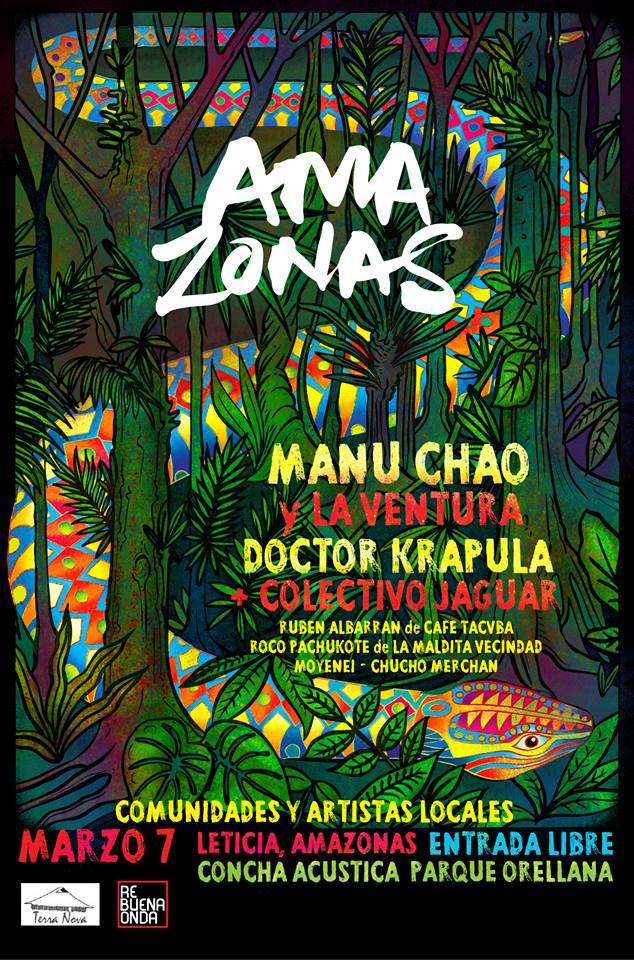 #Colombia Manú Chao, @DoctorKrapula #RubénAlbarrán, @rocopachukote y Moyenei concierto x defensa del #amazonas  http://t.co/vDStLiAFk2