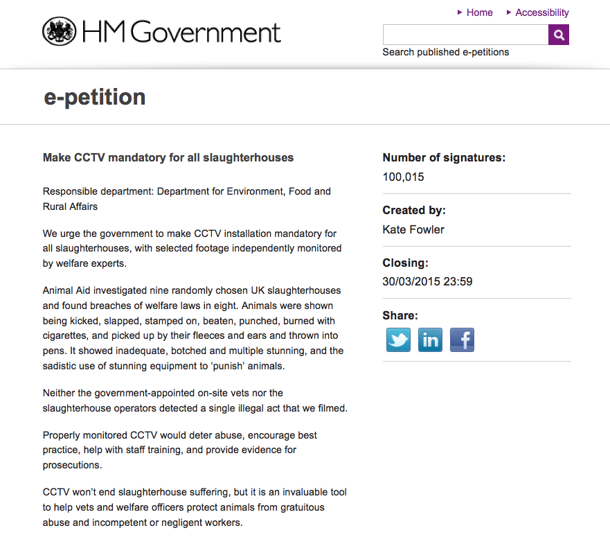 Our petition for mandatory CCTV in slaughterhouses has reached 100,000! Thank you to everyone who signed and shared. http://t.co/LVOatIGROd