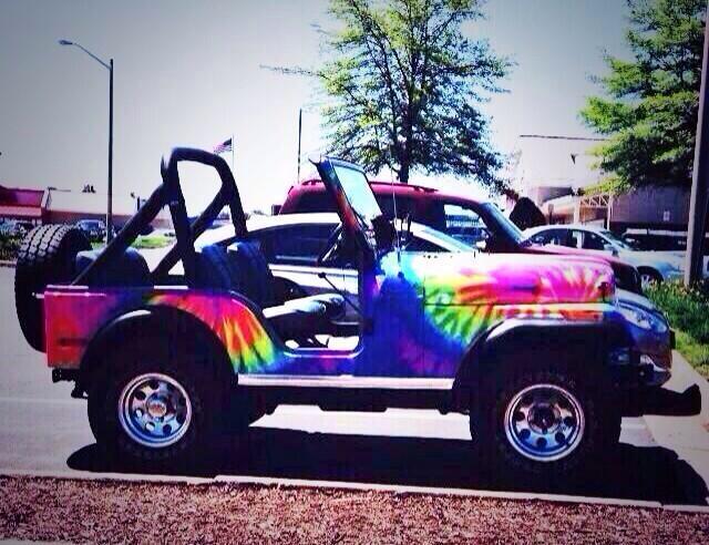 Happy Birthday Bob Marley.  tie dye jeep!! Want!!!