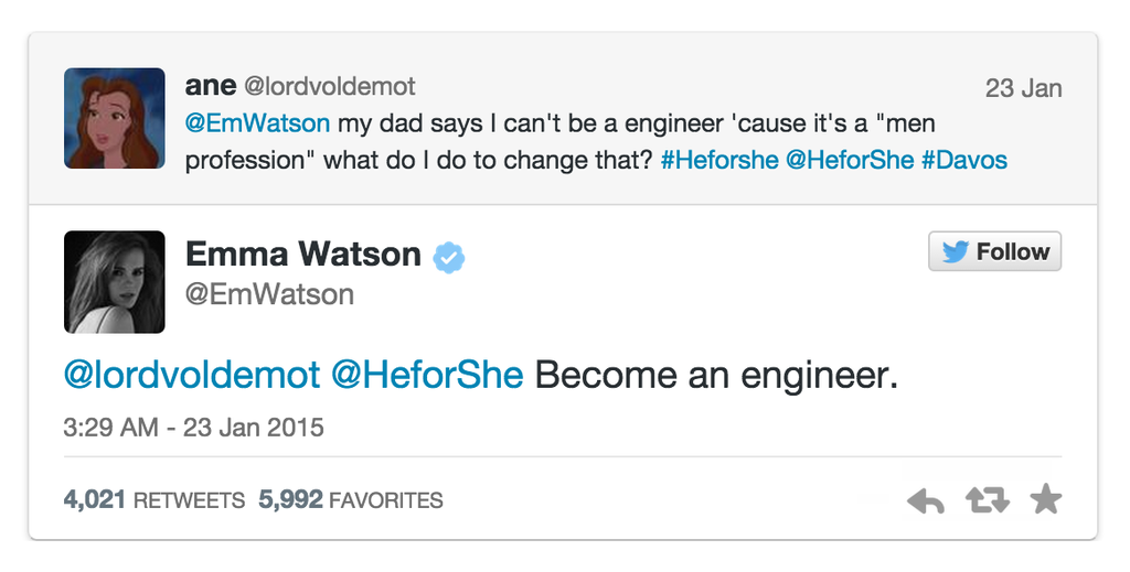 +100 RT @ObservingSpace: Emma Watson's (@EmWatson) advice: https://t.co/X3Jnep2ApH #STEM http://t.co/XLK5ntz7Rs