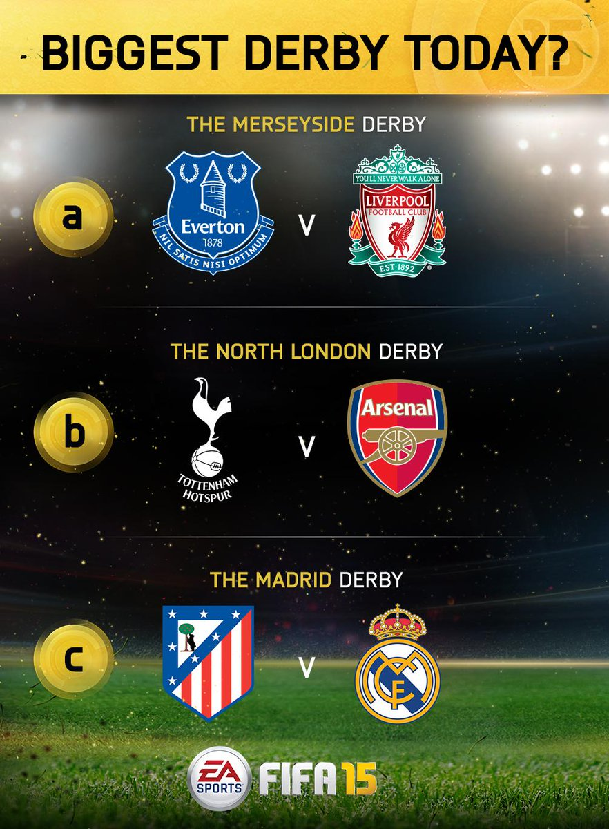 derby day! favorite match on the schedule - a, b or c? #football