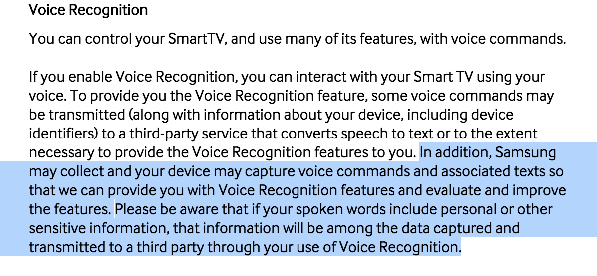 It begins…  Samsung's Smart TV owners warned about mentioning personal information in their living room:   http://t.co/EnI2O0TRMQ