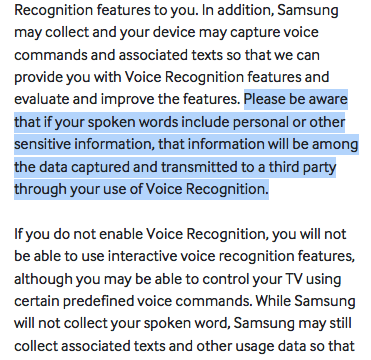 LEFT: Samsung SmartTV privacy policy, warning users not to discuss personal info in front of TV  RIGHT: 1984  —@xor http://t.co/zjd6xQzSb8