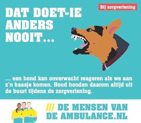 Denkt u aan de mensen van de ambulance, Ze komen vaak aan het baasje. #dmvda http://t.co/1gm5A4vfZg