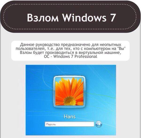 Взлом пароля в Windows 7 Как взломать пароль в Windows 7. Взлом пар