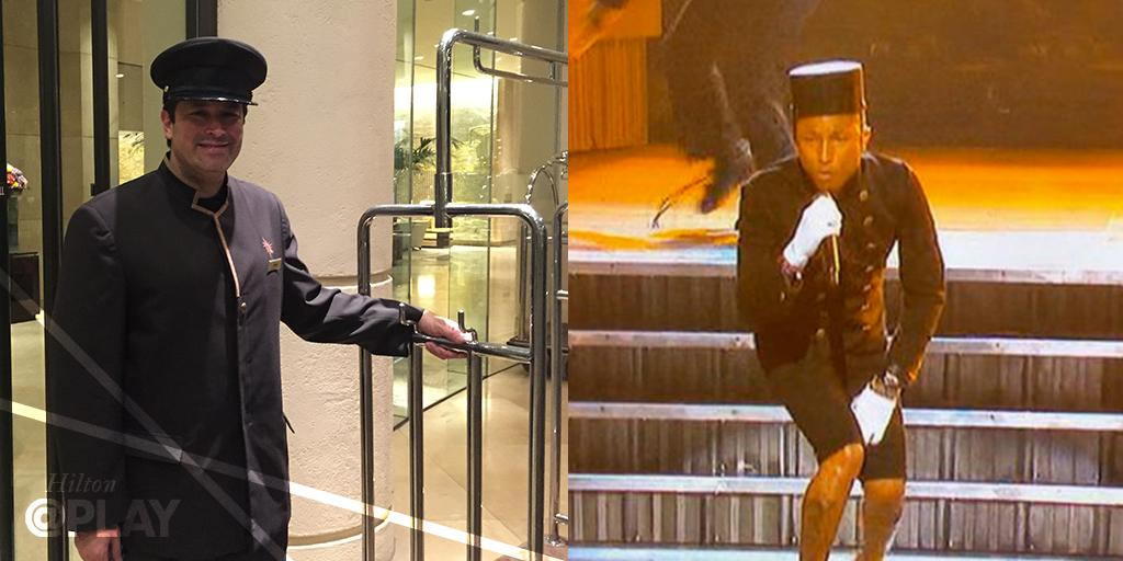 Who wore it best? Our bellhop or @Pharrell? #GRAMMYs http://t.co/VetcsW6gsh