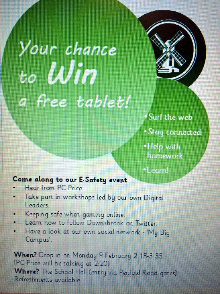 Join us today @dpsworthing for our #esafety event. Every adult will receive a raffle ticket to win a tablet! http://t.co/EjMCevyxTp