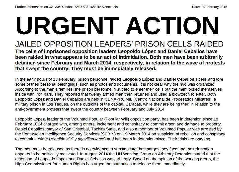Acción Urgente por Daniel Ceballos y Leopoldo López, emitida por Amnesty International  http://t.co/AmwB8OrOuK http://t.co/A51F34Bj3w