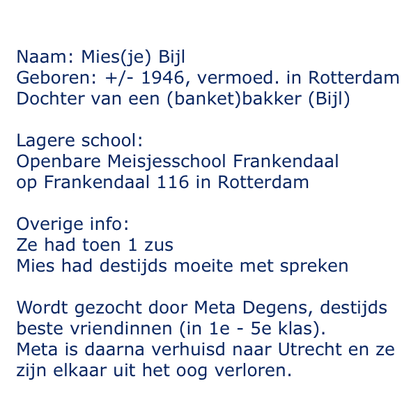 Wie helpt? Mijn moeder zoekt haar beste vriendin van lagere school: Mies(je) Bijl uit (toen) #rotterdam #dtv http://t.co/TPen0Od6Wi