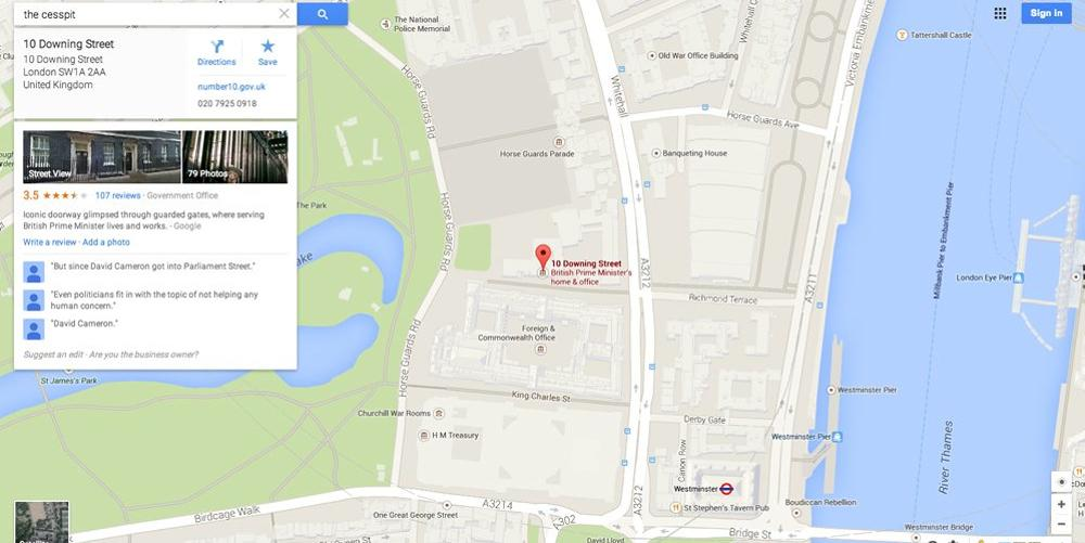 Google Maps labels 10 Downing Street as 'The Cesspit'   Scoopnest on