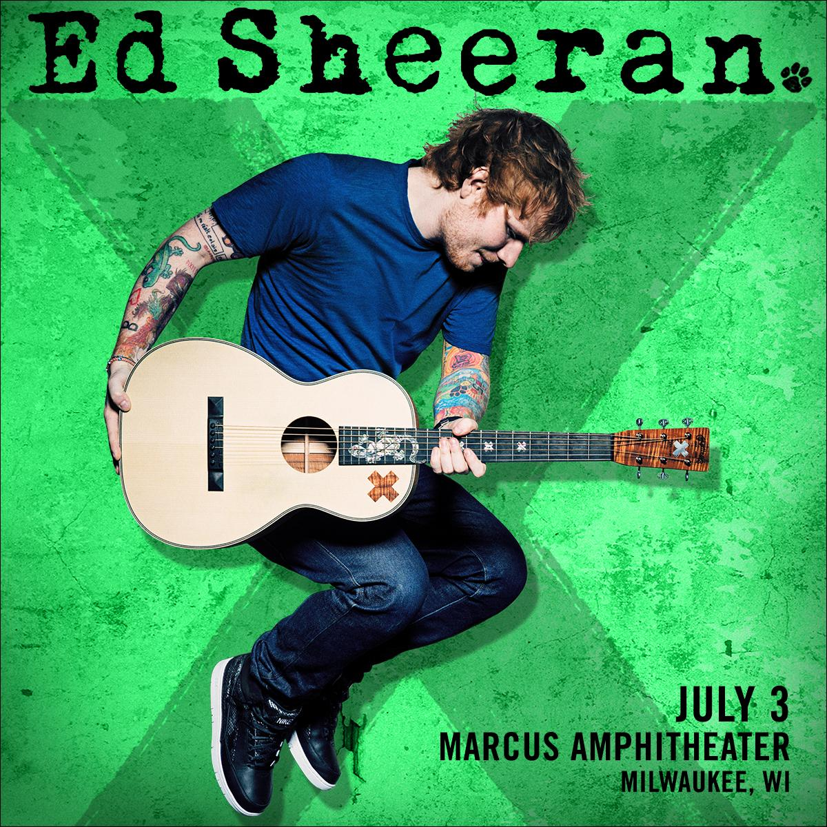 JUST ANNOUNCED! @edsheeran will headline @Marcus_Amp on 7/3! Get tix 2/20, 10:00 AM. Info: http://t.co/e0h6KlqYV2 http://t.co/WPSLJ9MYp3