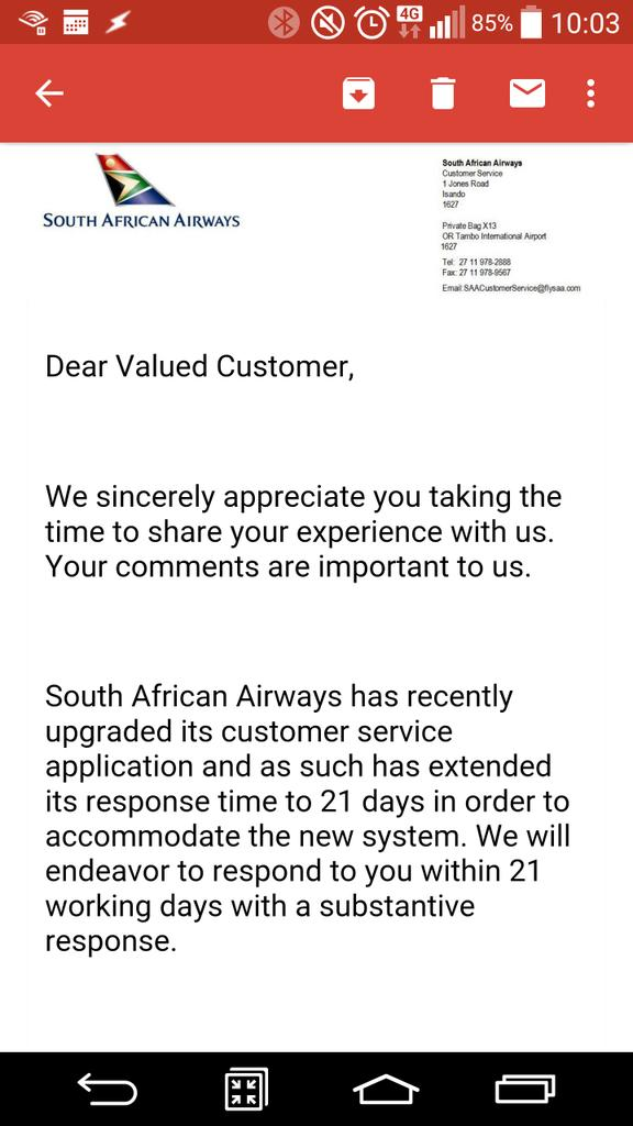Contacted @flysaa one hour after leaving my Kindle on a plane. Their reply two days later was a thing of beauty: http://t.co/tda69d3w4U