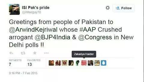 ISI agents and Pakistani are happy with #AAP victory in Delhi. http://t.co/LgLh2tQLgU