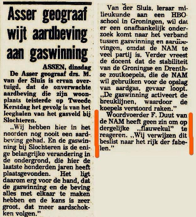 1986.. eerste verband gelegd tussen #aardbevingen en #gaswinning #Groningen.. Kabinet @RuudLubbers van #CDA en #VVD http://t.co/cKH9QhVfVj