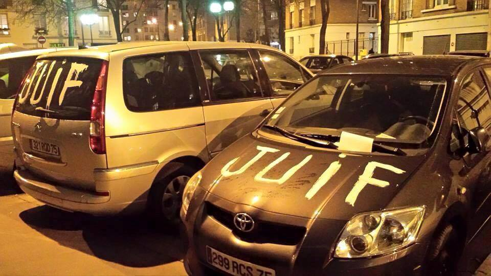 """Dear God: Twenty cars vandalized with the word """"Juif"""" (""""Jew"""") in the 16th arrondissement of Paris; suspect held. http://t.co/JhViwPeFdh"""
