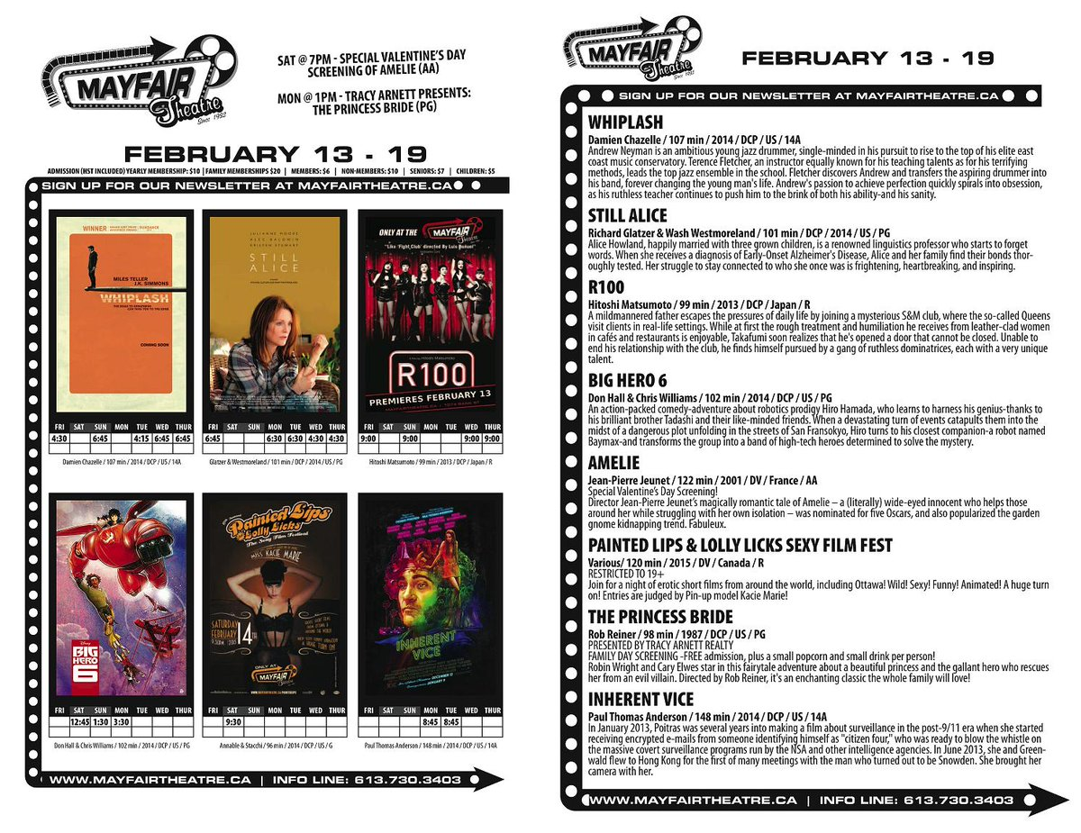 Fri Feb 13 - Thurs 19: Still Alice, Whiplash, Inherent Vice, Big Hero 6, R100, Amelie, Princess Bride, Painted Lips! http://t.co/4Ofzw8ejyz