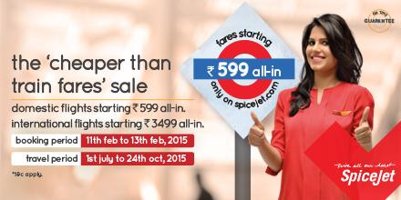 The SpiceJet 'cheaper than train fares' sale is here. Book now starting Rs.599 all-in, only on http://t.co/wkmNw9CRL2 http://t.co/Bk6OvbUUlg