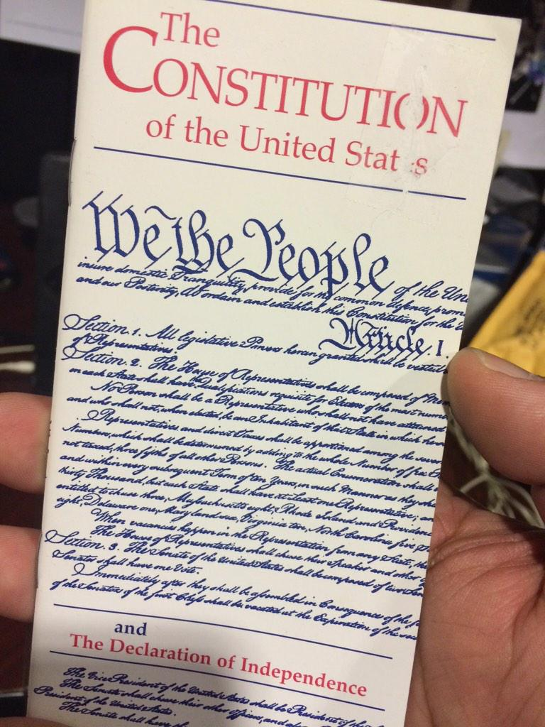 @AlysiaStern I always have a copy of The Constitution of the United States & of The Declaration of Independence http://t.co/gMV8pKurWi