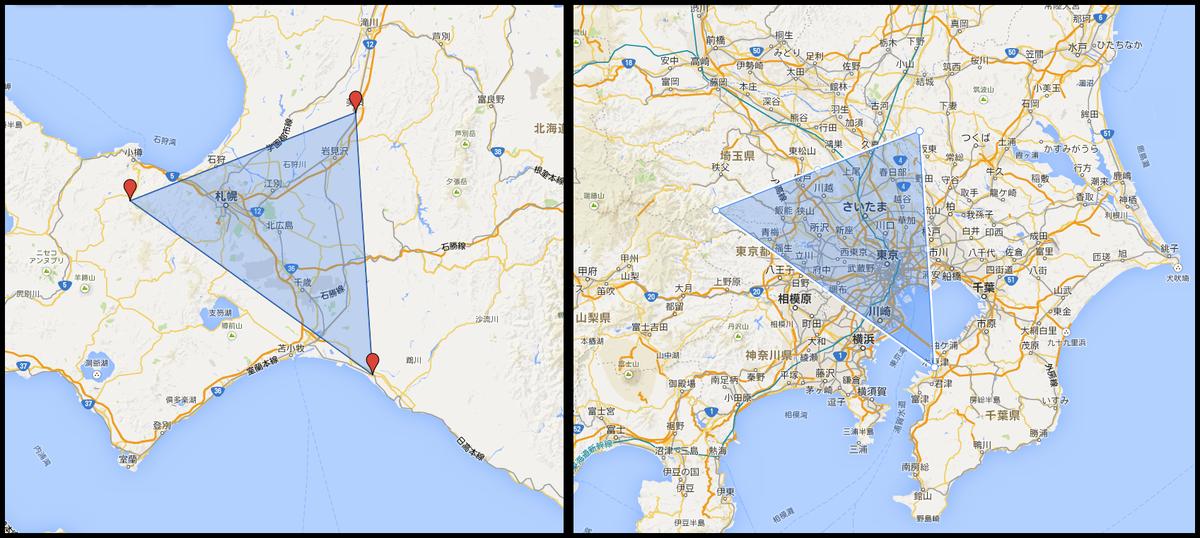 札幌が完全に覆われてるCF、1辺が大体100km、同スケールのCFを東京で作るとこうなる #Ingress http://t.co/Q7XKijkujt